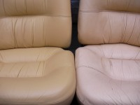 Leather cart seats. Left: Before. Right: After